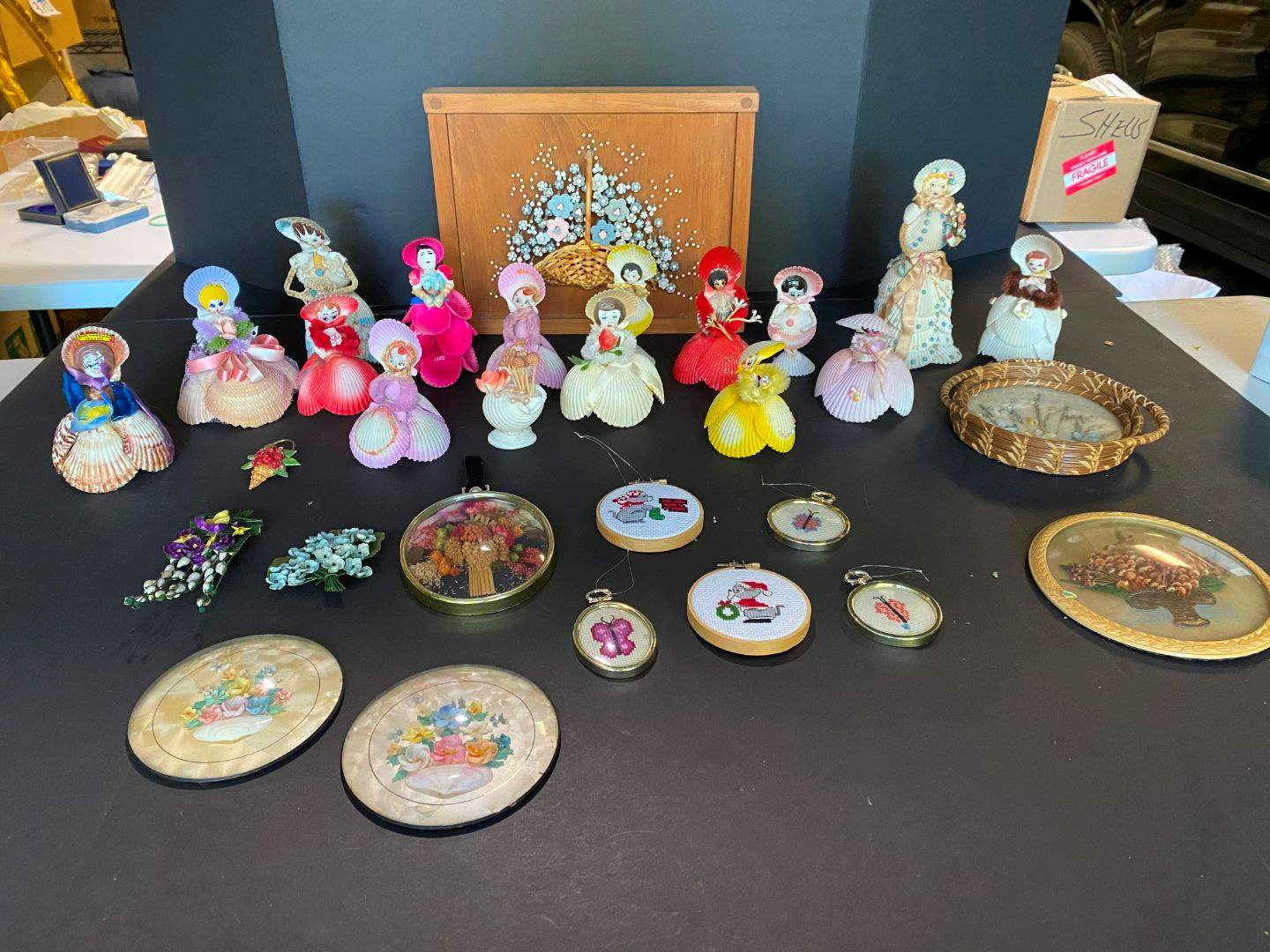 Lot # 396 - Handmade Shell Dolls & Wall Art (main image)