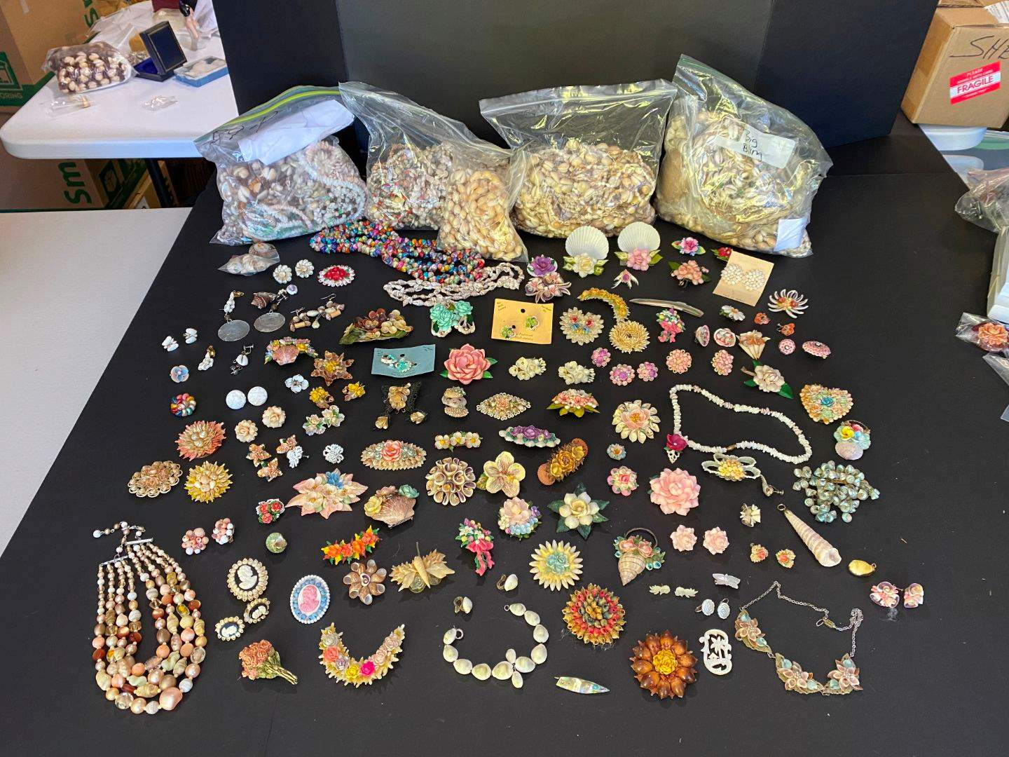 Lot # 405 - Handmade Shell Necklaces, Pins & Clip-on Earrings (main image)
