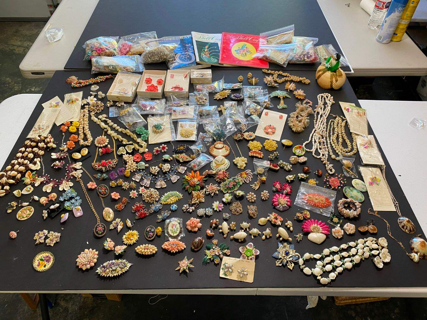 Lot # 406 - Handmade Shell Necklaces, Pins & Clip-on Earrings (main image)