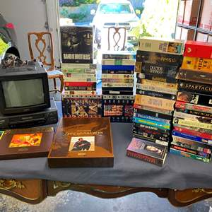 Auction Thumbnail for: Lot # 409 - VHS Player, Small Sony TV & Classic VHS Tapes