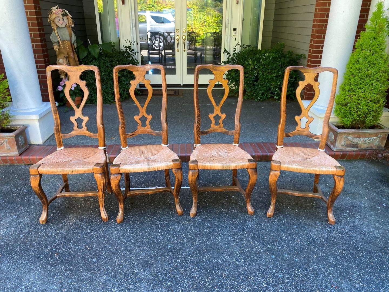 Lot # 411 - 4 Vintage Rush Bottom Chairs w/Cushions (main image)