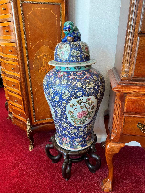 Lot # 13 - Large Ornate Asian Urn w/Wood Stand (main image)