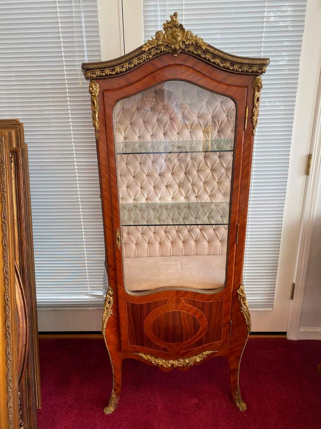 Lot # 25 - Beautiful Antique French Louis XV Style Curio Cabinet w/Brass Accents  (main image)