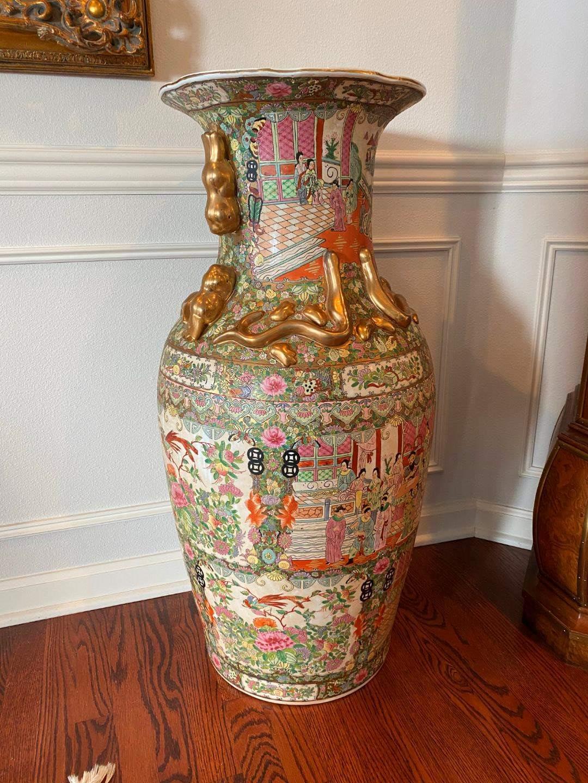 "Lot # 32 - Beautifully Painted Large Ceramic Asian  Vase - 37"" Tall  (main image)"