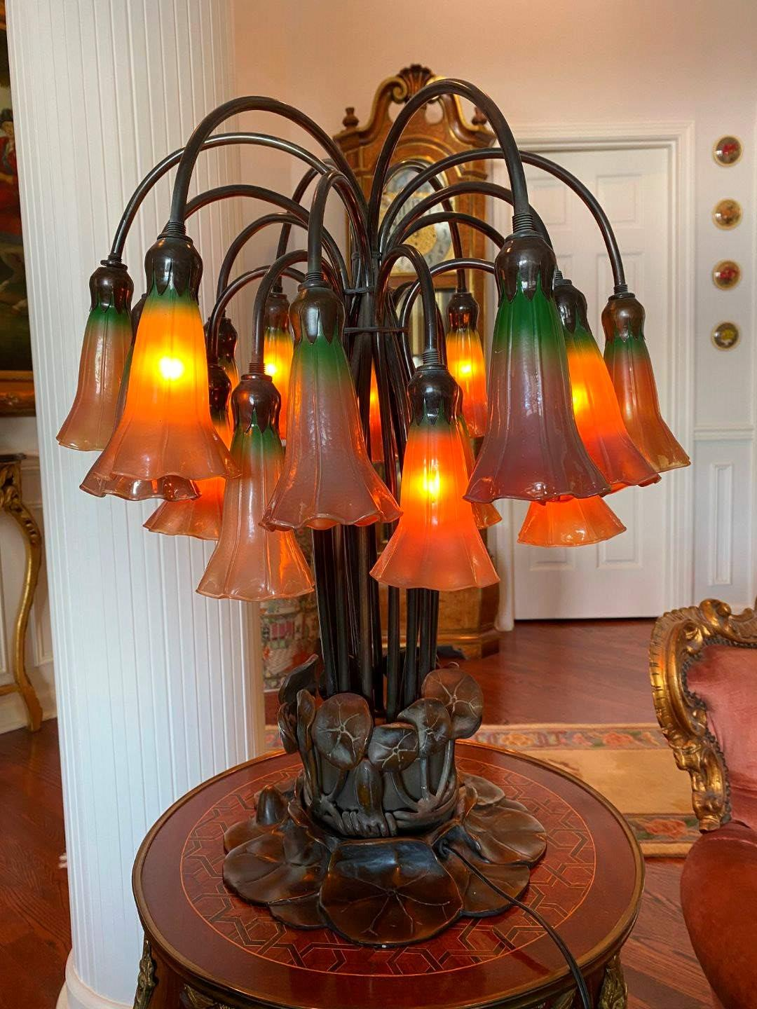 Lot # 33 - Awesome Unique Brass Table Lamp w/Glass Shades  (main image)