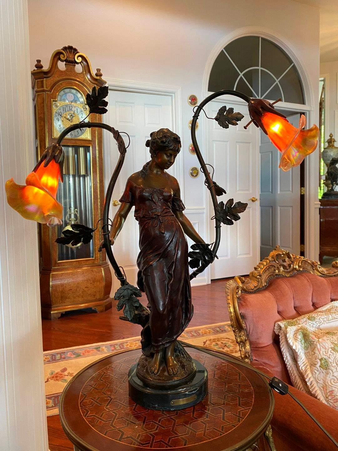 "Lot # 38 - Antique ""Moreau"" Bronze & Marble Base Lamp w/Glass Shades (main image)"