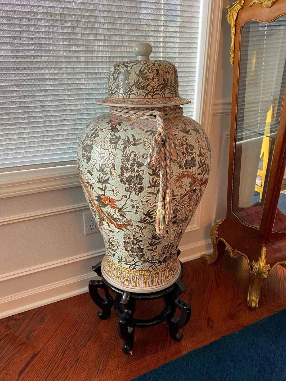 Lot # 46 - Beautiful Large Asian Ceramic Urn w/ Wood Base  (main image)