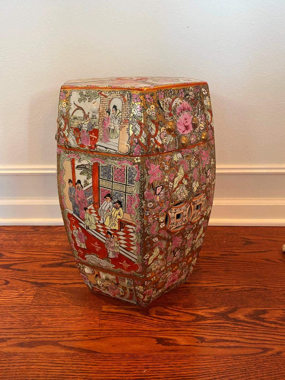 Lot # 49 - Beautiful Ornate Ceramic Asian Garden Stool  (main image)