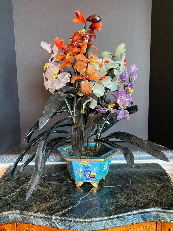 """Lot # 81 - Beautiful Glass/Jade Flower Arrangement in a Decorative Brass Flower Pot - 19"""" Tall  (main image)"""