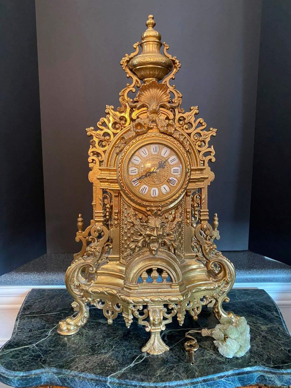 "Lot # 90 - Vintage Italian Solid Brass Imperial Mantel Clock - 24"" Tall  (main image)"