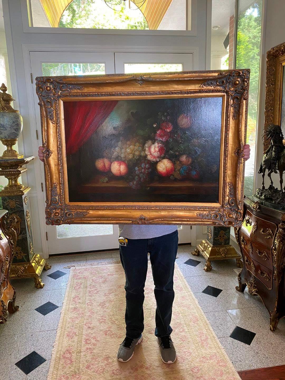 Lot # 91 - Elegant Gold Wood Framed Original Oil on Canvas  (main image)