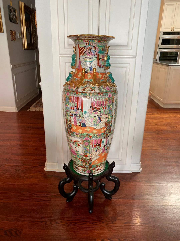 Lot # 94 - Large Beautifully Painted Ceramic Asian Vase w/Stand (main image)