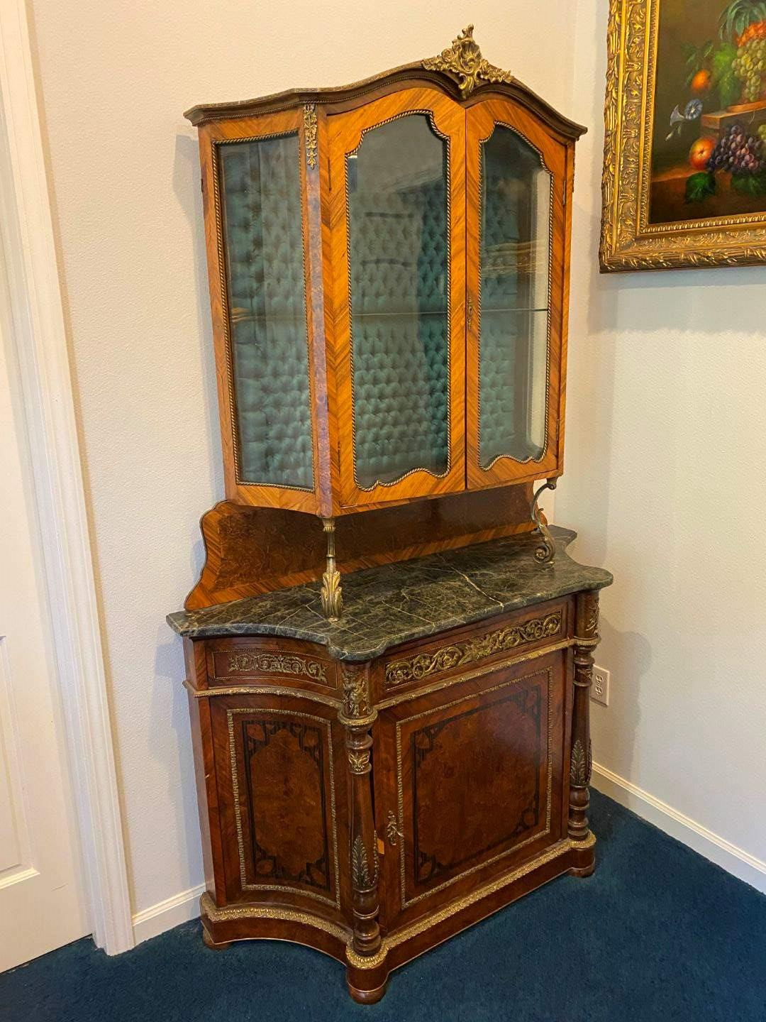 Lot # 102 - Nice Antique Two Piece Louis XV Style Marble Top Cabinet w/Brass Accents  (main image)