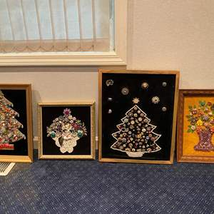 Auction Thumbnail for: Lot # 128 - Four Handmade Pieces of Wall Art Made Out of Vintage Costume Jewelry