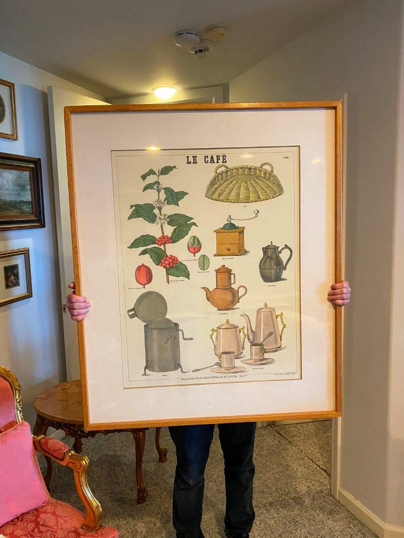 """Lot # 176 - Large Framed Emile Deyrolle """"Le Cafe"""" Poster  (main image)"""