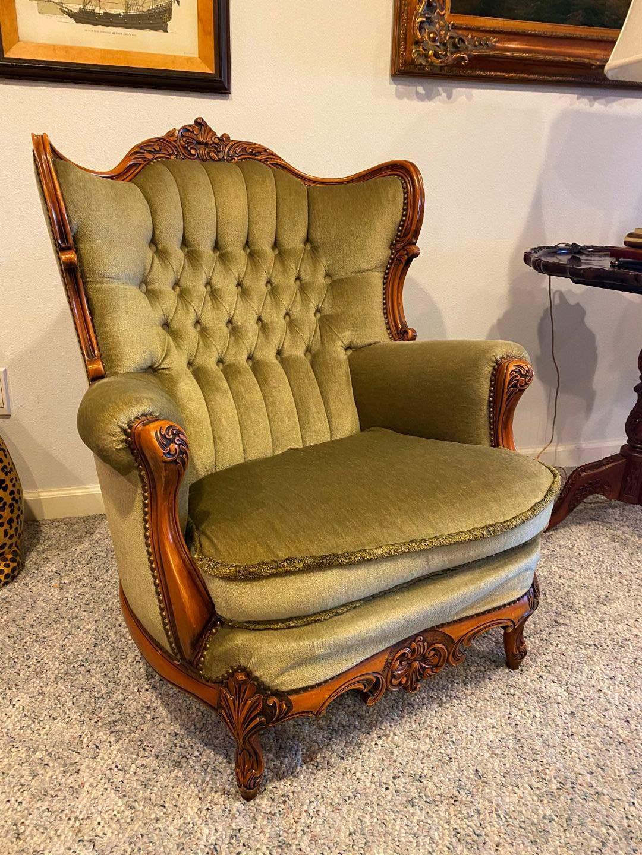 Lot # 187 - Vintage/Antique Green Arm Chair (main image)