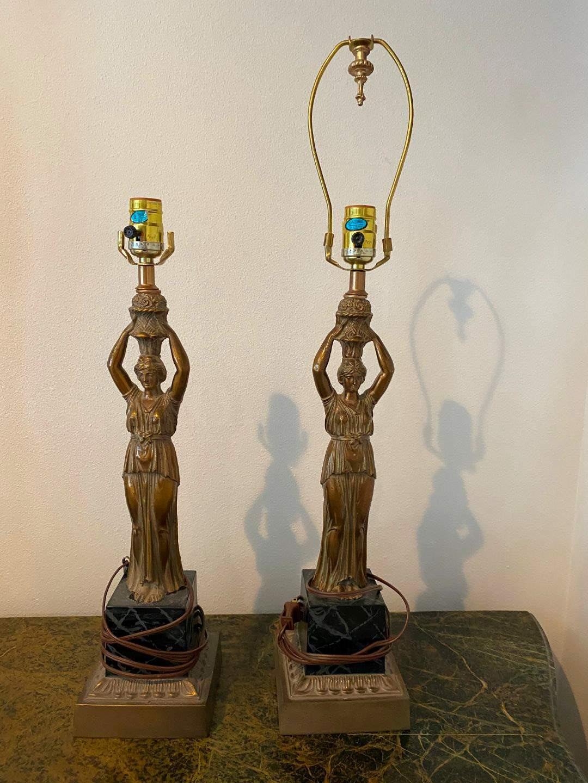 Lot # 217 - Two Vintage Greek Goddess Brass Alsy Lamps (main image)