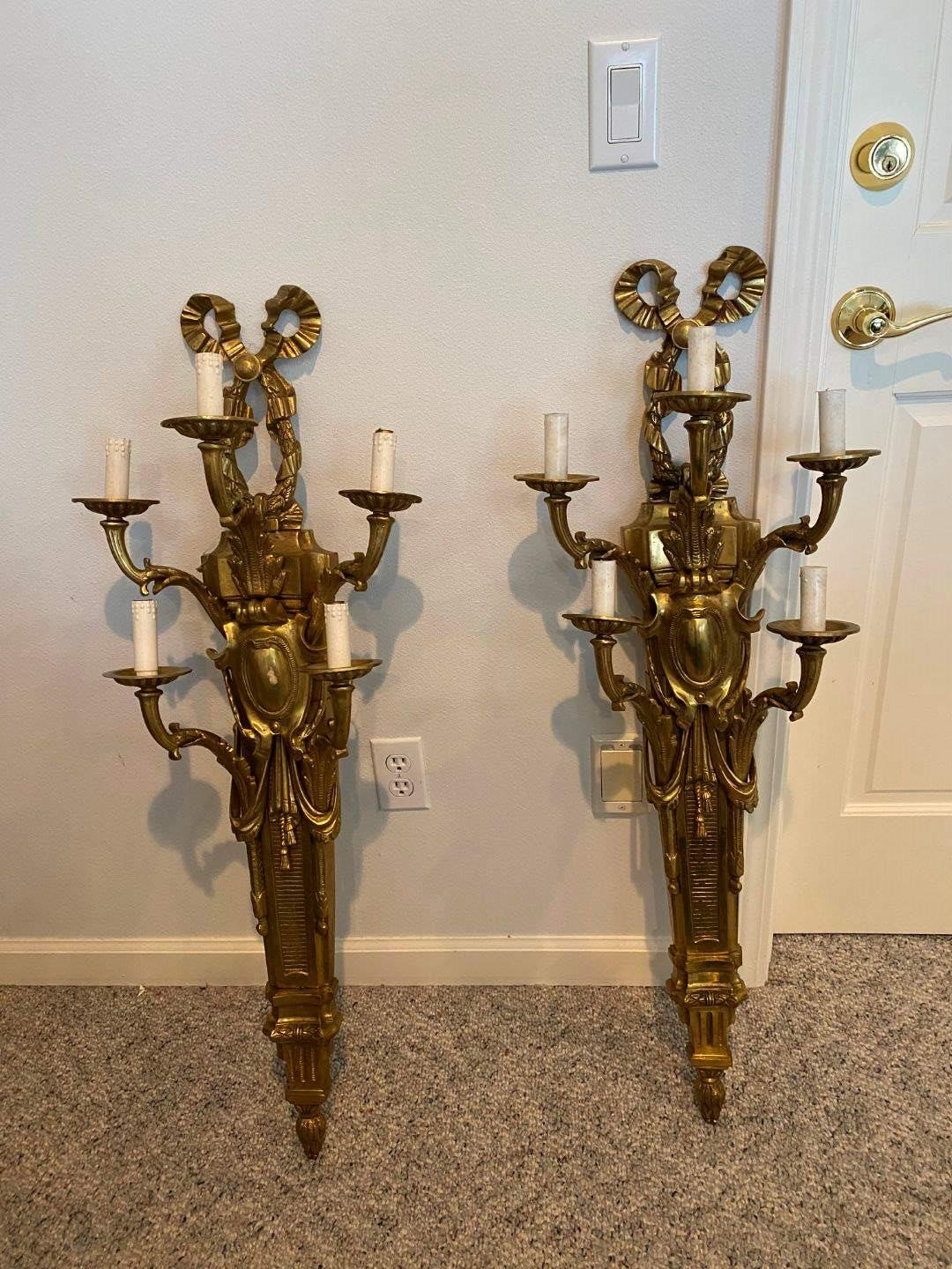 "Lot # 219 - Two Awesome Large Heavy Solid Brass Candelabra Light Fixtures - 41"" Tall  (main image)"
