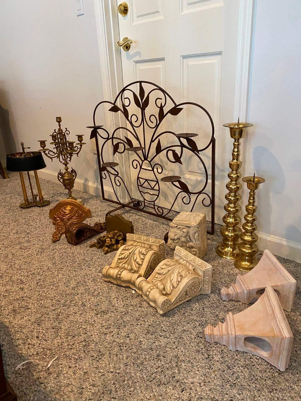 Lot # 220 - Vintage Brass Candelabra, Brass Candle Holder w/Adjustable Shade, Decorative Shelves & More.. (main image)