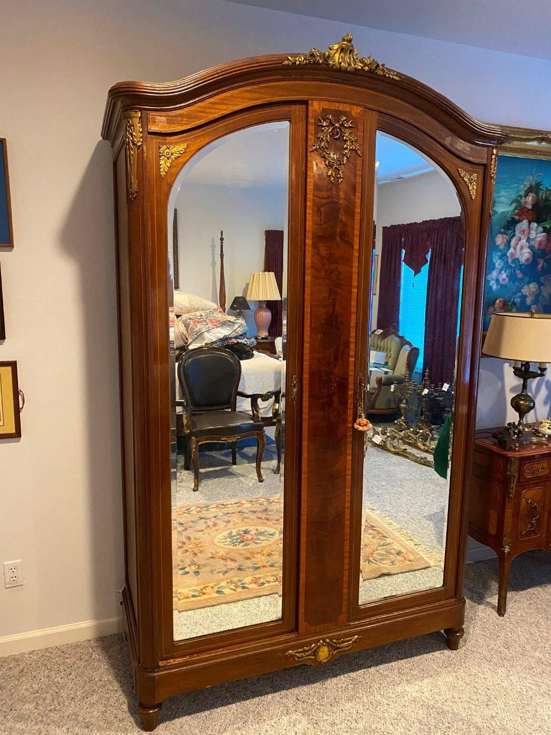 Lot # 222 - Beautiful Large Armoire w/Brass Accents (main image)