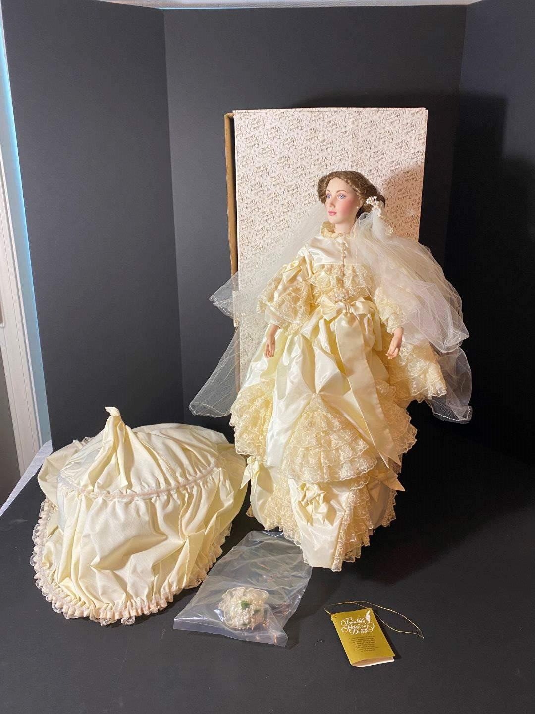 """Lot # 235 - Porcelain Franklin Mint """"The Victoria & Albert"""" Bride Doll (First Time out of the Box) (main image)"""
