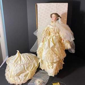 "Auction Thumbnail for: Lot # 235 - Porcelain Franklin Mint ""The Victoria & Albert"" Bride Doll (First Time out of the Box)"