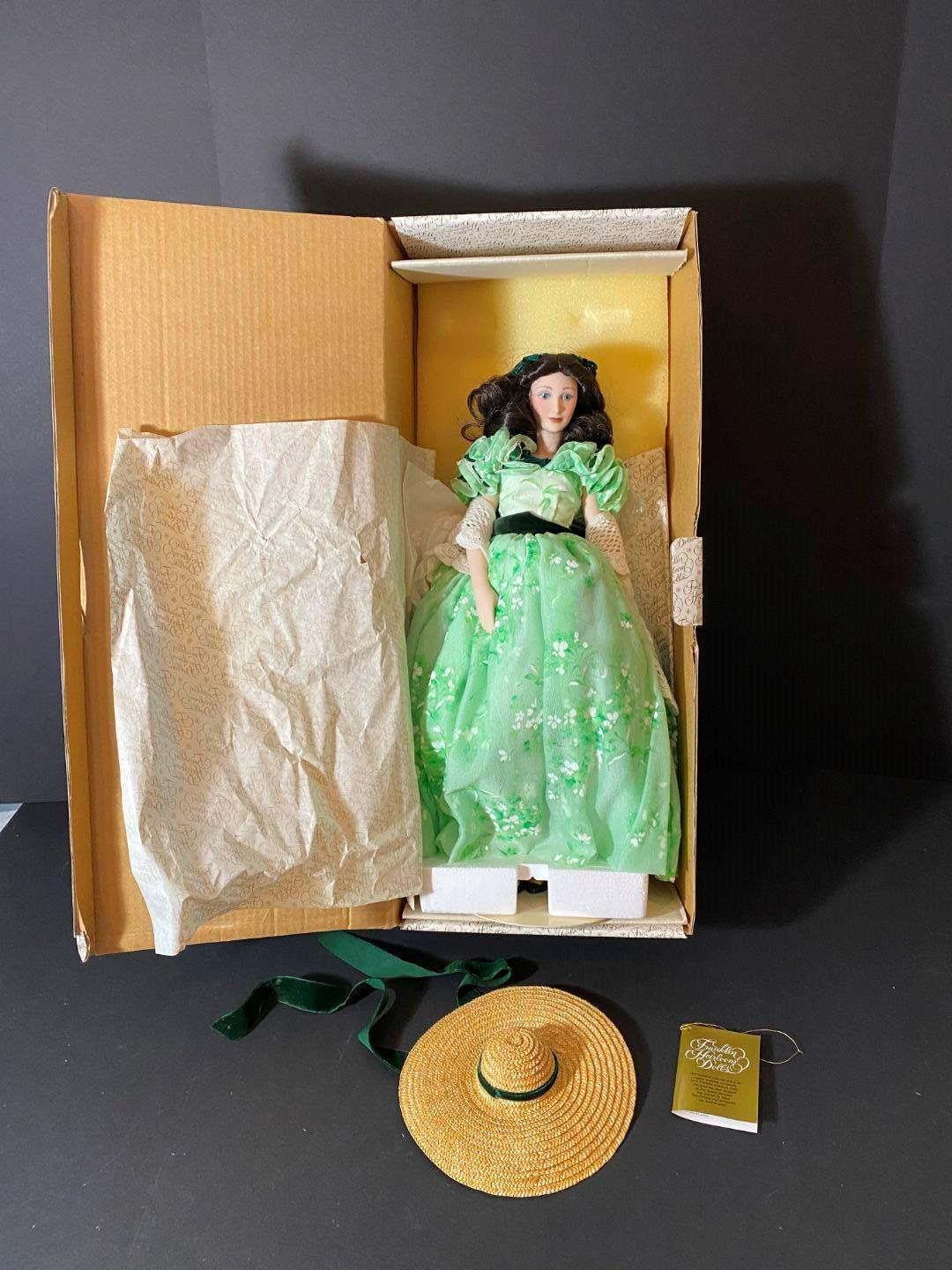 "Lot # 239 - Porcelain Franklin Mint ""Scarlett O'Hara"" Doll  (main image)"