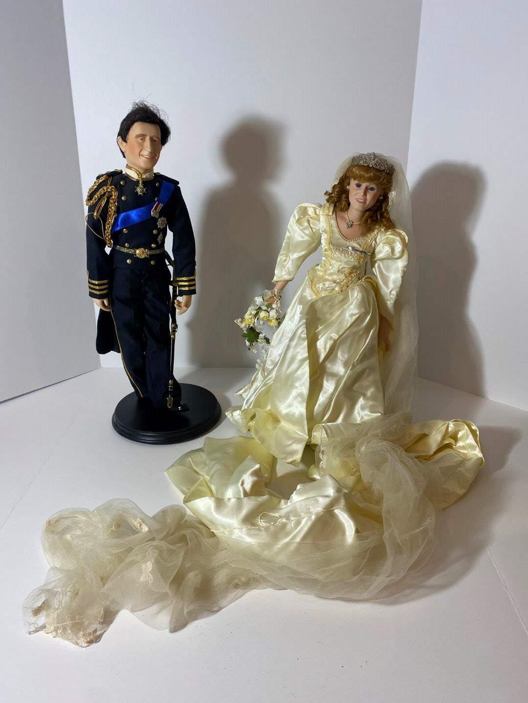 """Lot # 252 - Porcelain Danbury Mint """"Princess Sarah Bride Doll"""" & Porcelain Prince (main image)"""