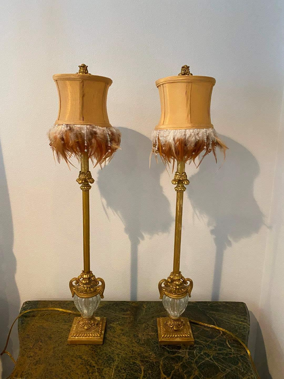 Lot # 267 - Two Metal, Glass & Wood Lamps w/Feather Shades (main image)
