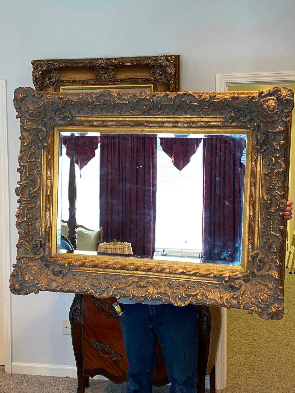 Lot # 285 - Large Elegant Gold Toned Wood Framed Mirror  (main image)