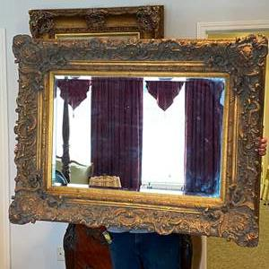 Auction Thumbnail for: Lot # 285 - Large Elegant Gold Toned Wood Framed Mirror