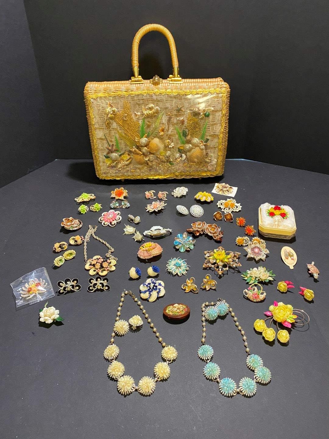 Lot # 379 - Very Cool Hand Designed Shell Art on Wicker Bag, Beautiful Handmade Shell Earrings & Necklaces (main image)