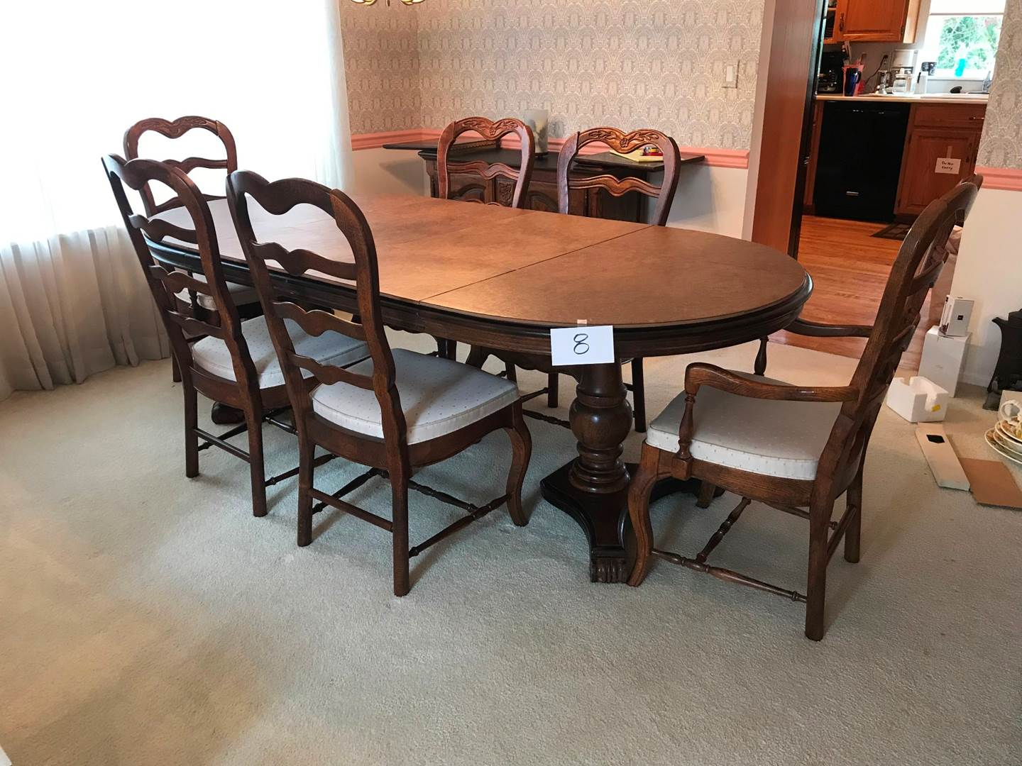 """Lot # 8 - Elegant vintage dining set/6 chairs including 2 armchairs, 2 18"""" leaves. 87.5x44x20.5hi (main image)"""