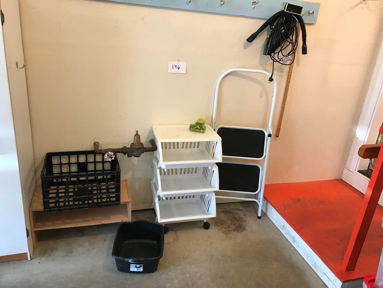 Lot # 146 - Step Stool, storage bins, Dirt Devil hand vac (main image)