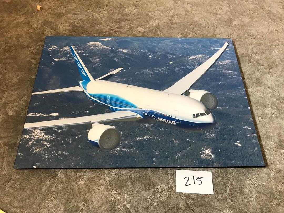 """Lot # 215 - Wood Photograph of Boeing 777 - 34"""" x 24"""". (main image)"""