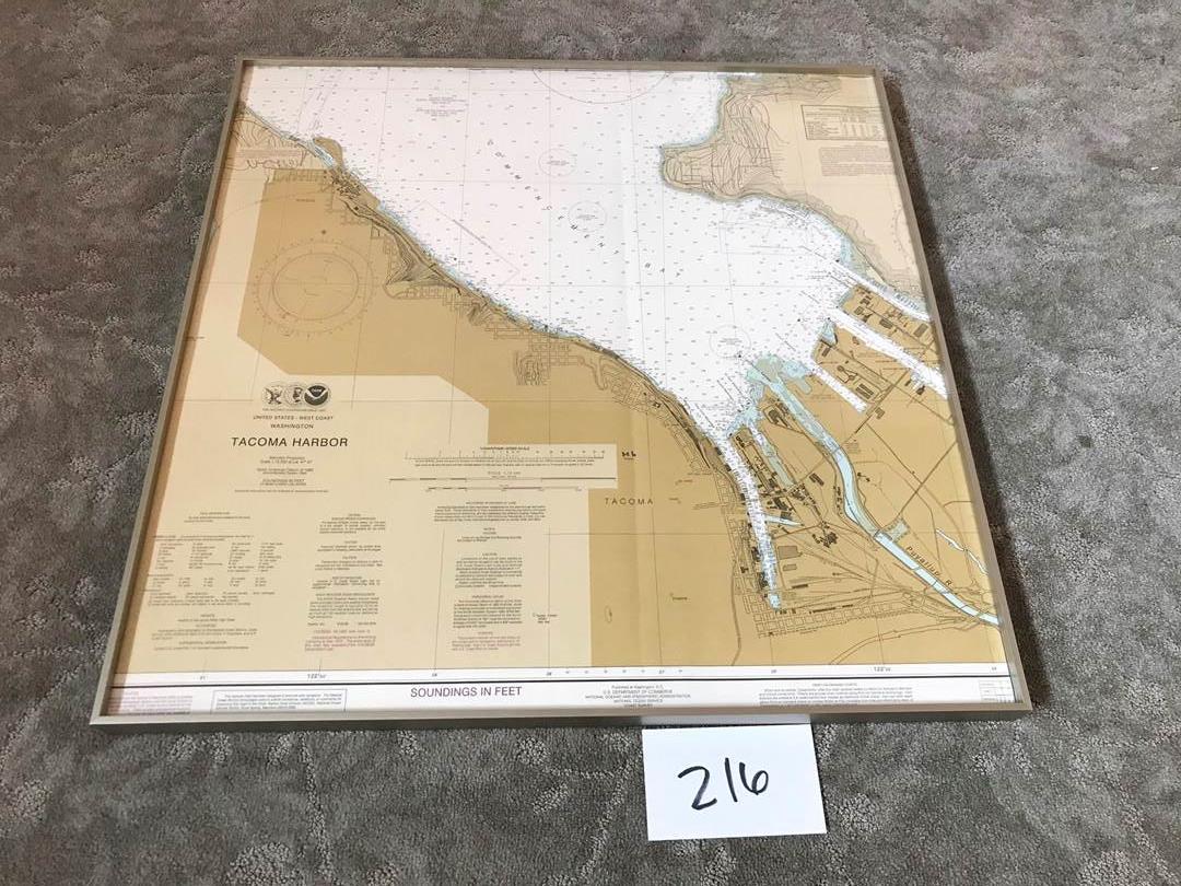 """Lot # 216 - Tacoma Harbor NOAA Chart - 26.5"""" x 26.5"""". (main image)"""