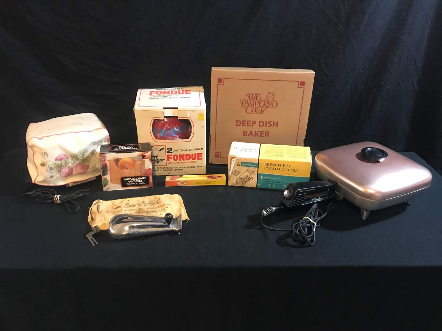 Lot # 57 - New in Box Fondue Pot, Toaster, Electric Frying Pan, Maid of Honor Potato Cutter, Can-o-Mat Can Opener & More.. (main image)