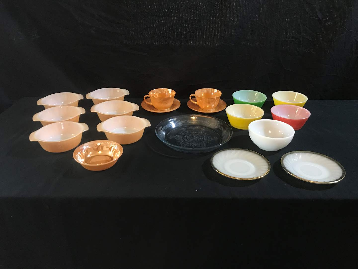 Lot # 61 - Beautiful Selection of Fire King Glass: Tea Cups, Saucers, Bowls, Pie Pan, Milk Glass Plates & Bowls (main image)