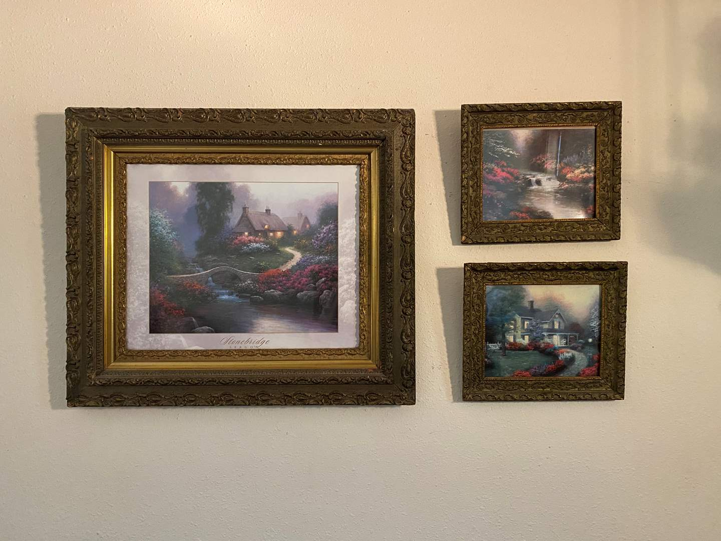 Lot # 7 - Three Pieces of Wall Art - Framed in Vintage/Antique Wood Frames (main image)