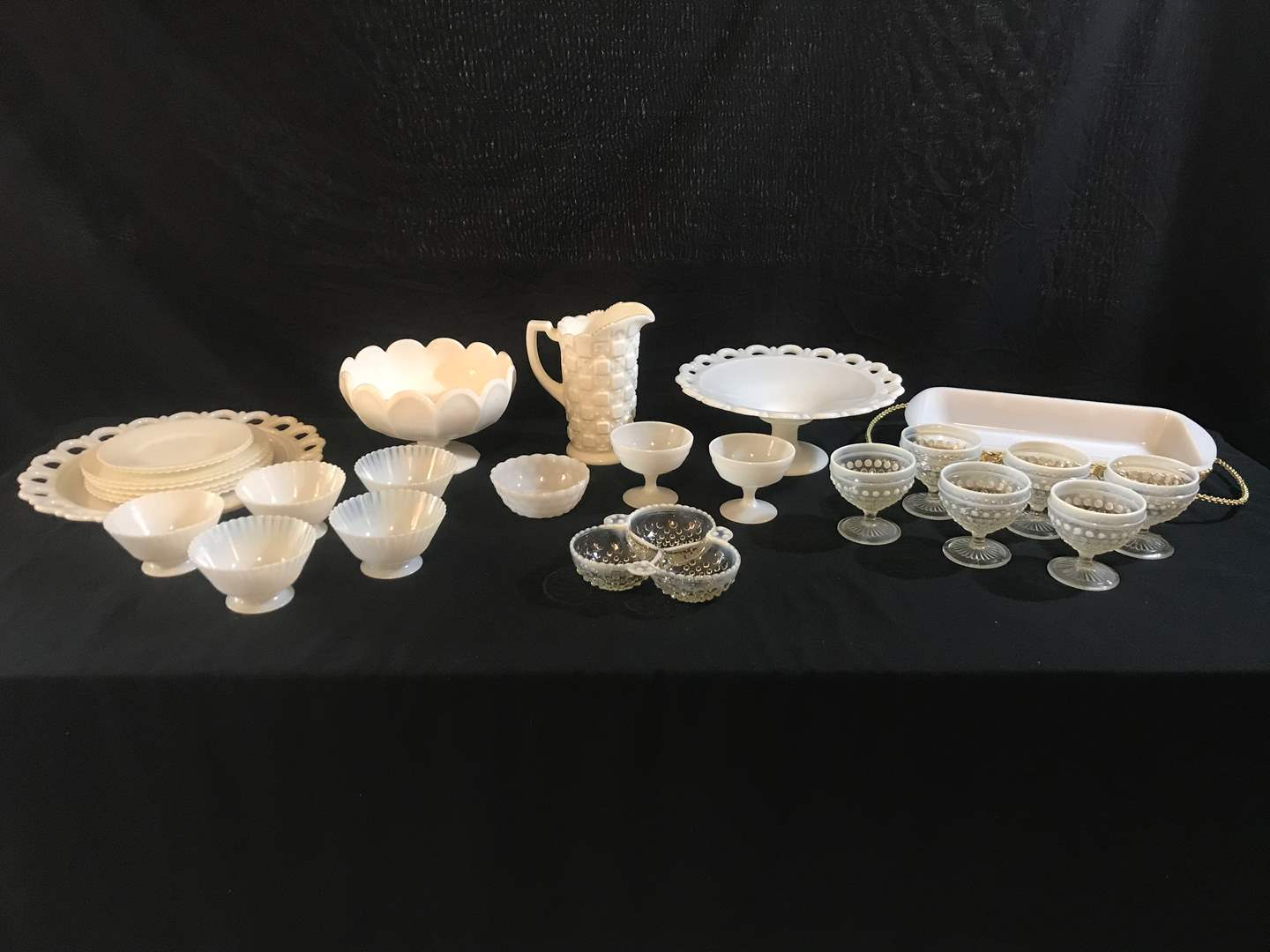 Lot # 62 - Large Selection of Milk Glass: Cups, Bowls, Plates, Cake Stand, Casserole Dish, Pitcher & More.. (main image)