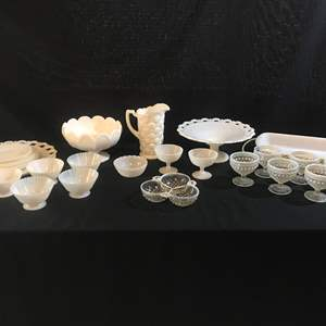 Auction Thumbnail for: Lot # 62 - Large Selection of Milk Glass: Cups, Bowls, Plates, Cake Stand, Casserole Dish, Pitcher & More..