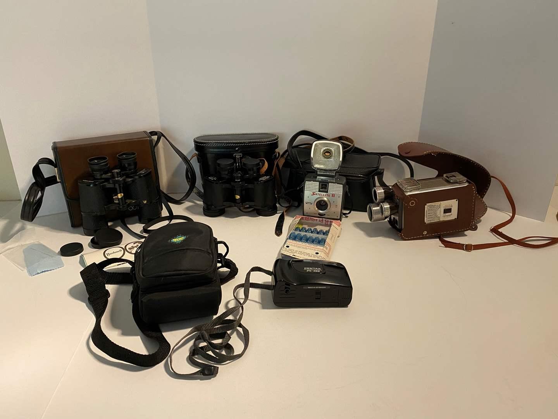 Lot # 9 - Vintage Bushnell Binoculars, Town & Country Binoculars, Imperial Satellite II Camera, Vintage Kodak Camera & More.. (main image)
