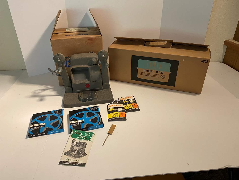 Lot # 10 - Vintage Baia Challenger 8mm Movie Editor & Vintage Tower Light Bar (main image)