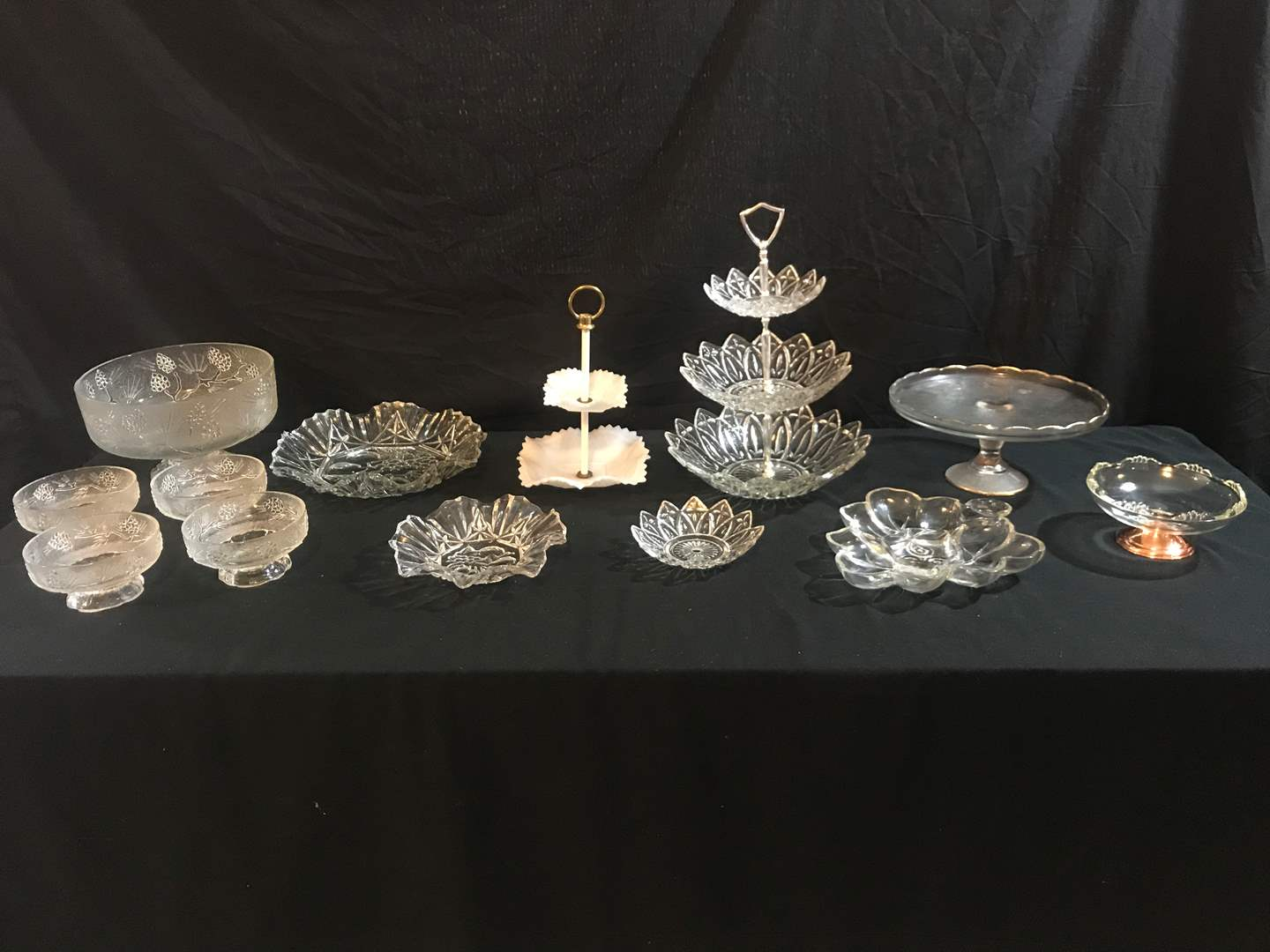 Lot # 64 - Glass Tid Bit Trays, Cake Stand, Large Bowl w/4 Serving Dishes & More.. (main image)