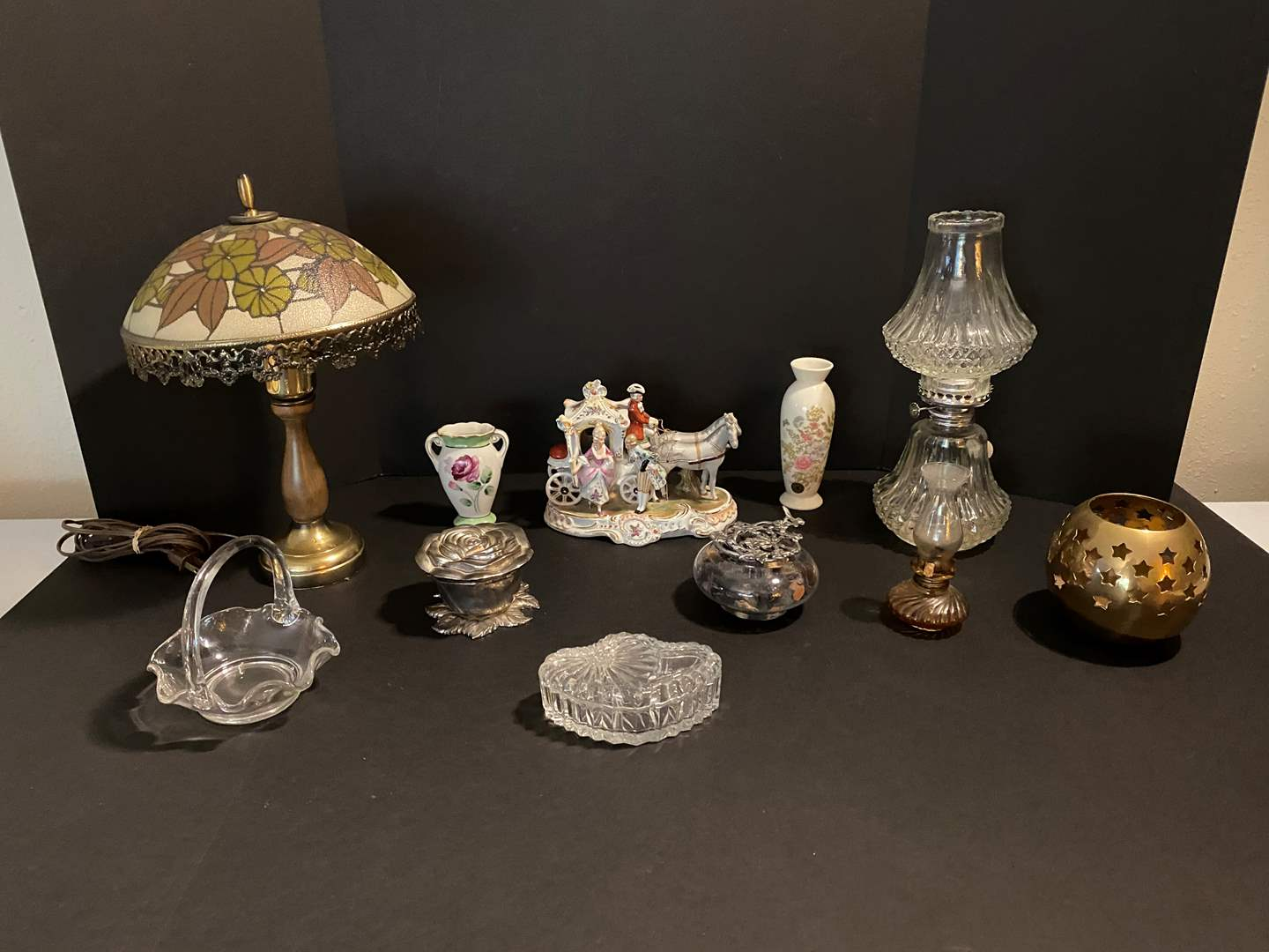 Lot # 18 - Vintage Crystal Oil Lamp, Small Lamp w/Glass Shade, Glass Dishes, Small Vases & More.. (main image)