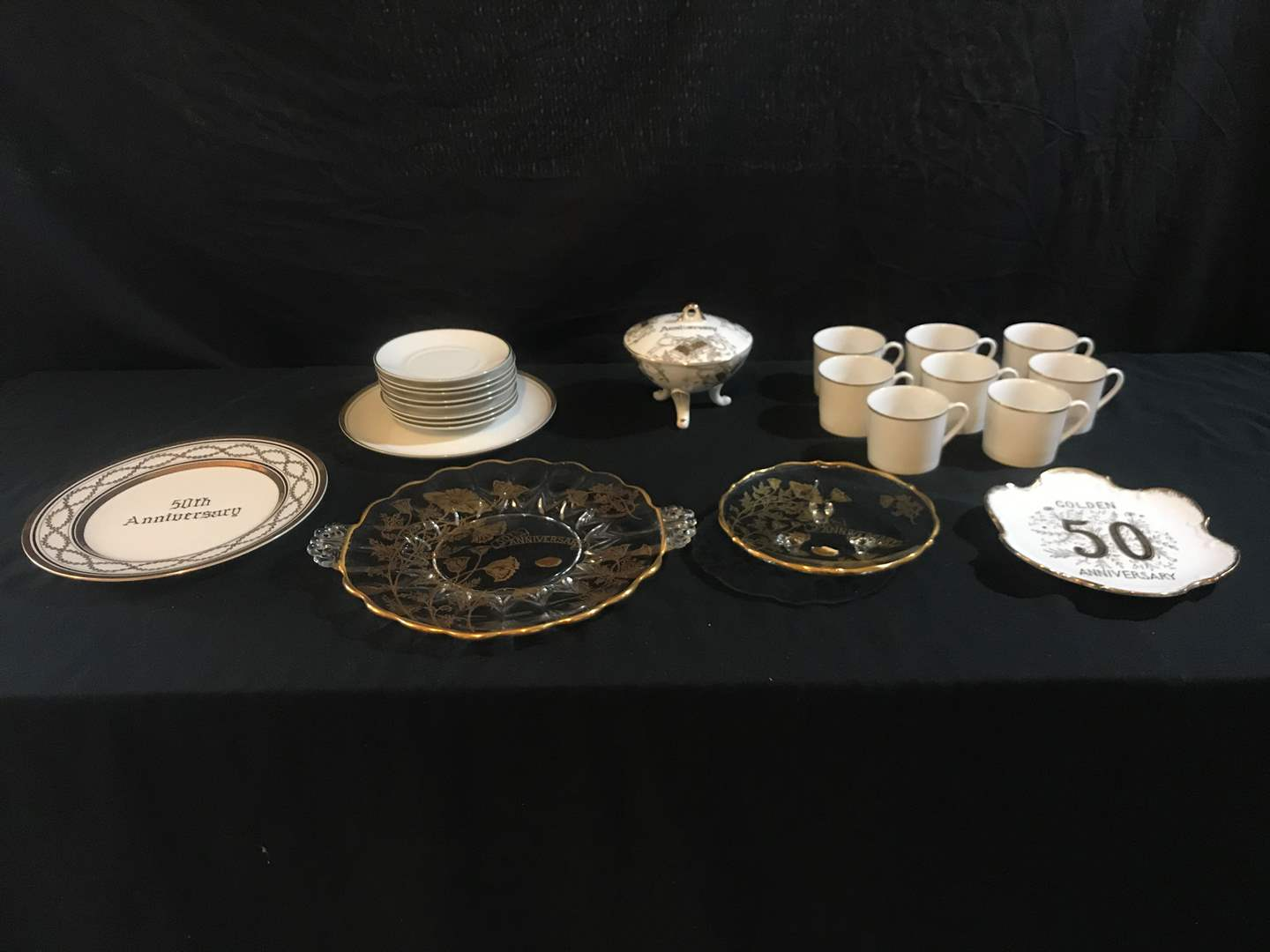 Lot # 66 - 50th Anniversary Dishes, Small Plates & Cups (main image)