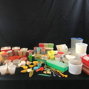 Auction Thumbnail for: Lot # 68 - Large Lot of Tupperware: Containers, Cheese Grater, Cups, Measuring Cups & Other Misc. Plastic Items