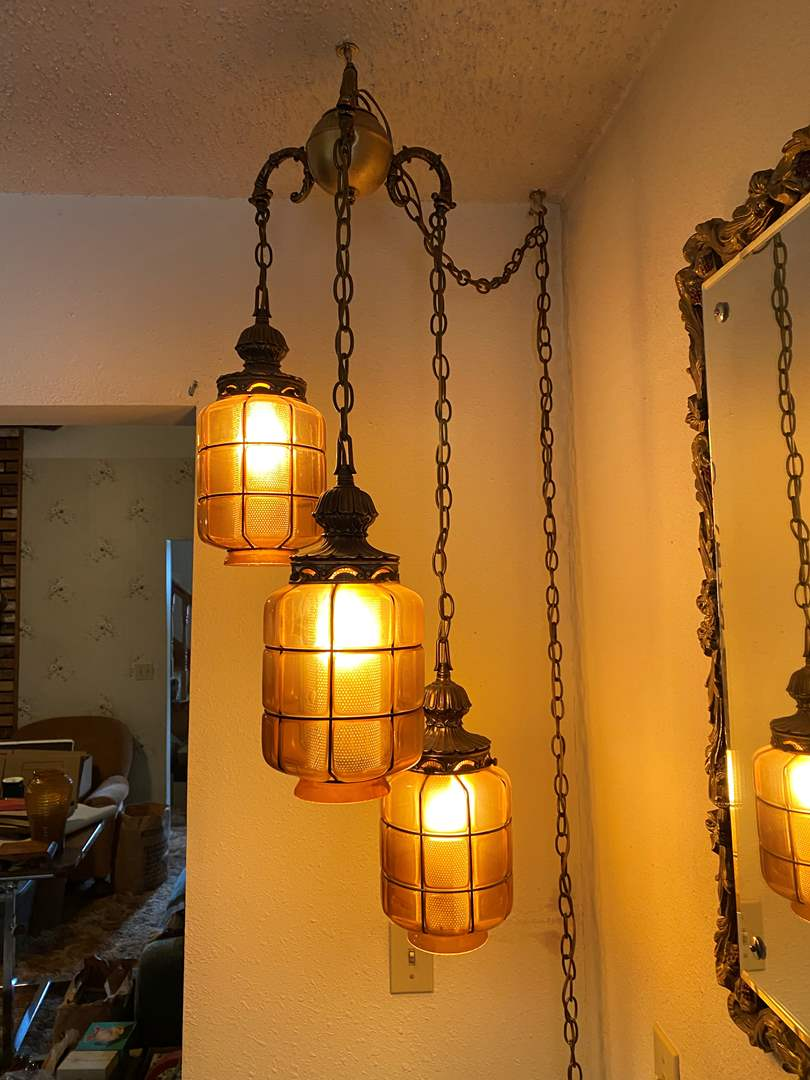 Lot # 32 - Vintage Swag Lamp w/Amber Colored Glass Shades (main image)