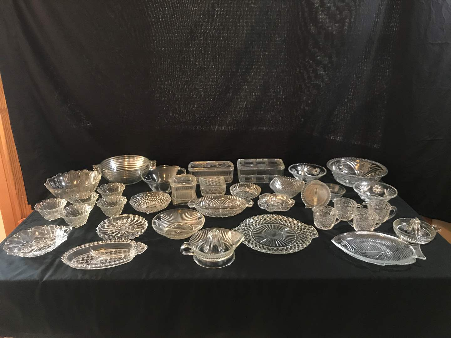 Lot # 70 - Large Lot of Crystal: Serving Platters, KnickKnack Boxes, Snack Trays, Bowls of Various Sizes, Sugar Dishes & More.. (main image)