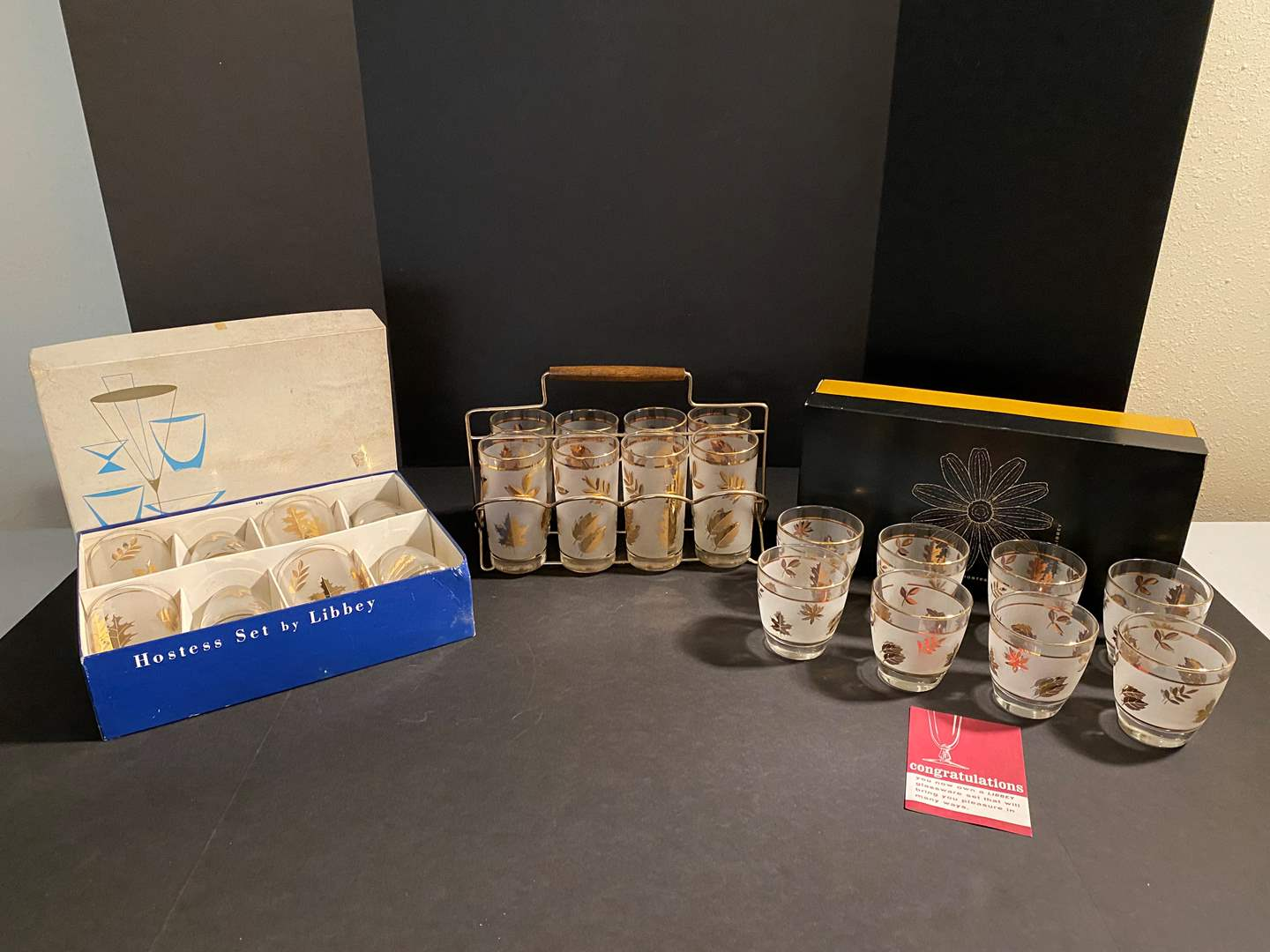 Lot # 41 - Vintage Mid-Century Hostess Gold Leaf Barware by Libbey  (main image)